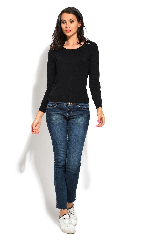 William De Faye Round Neck Buttoned Shoulder Sweater in Black