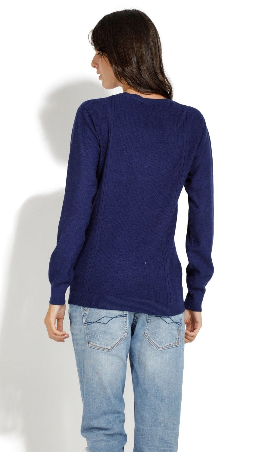 William De Faye Round Neck Long Sleeve Sweater in Navy