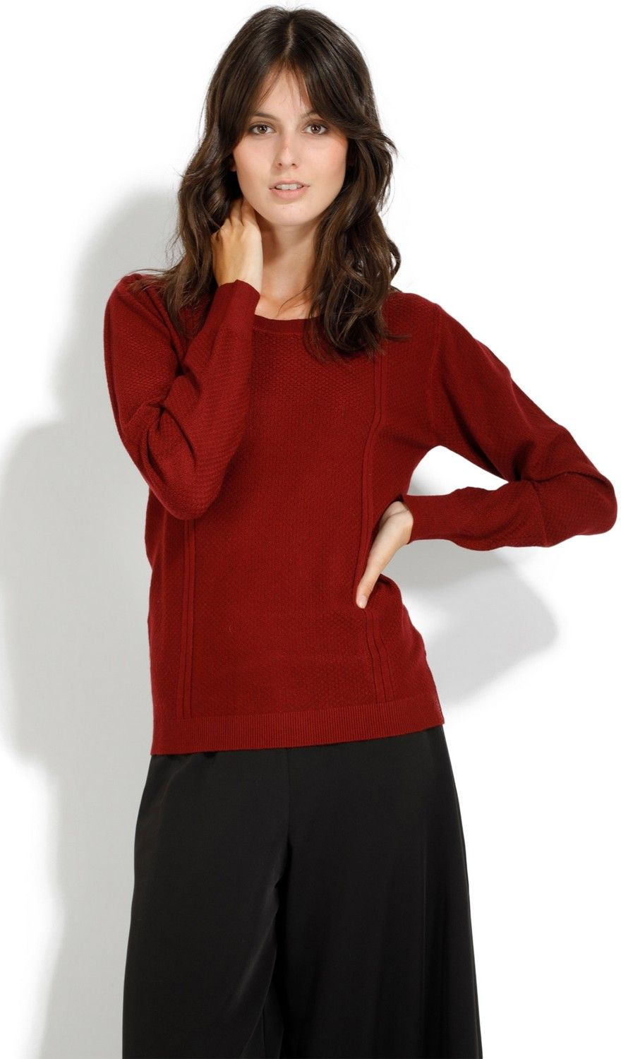 William De Faye Round Neck Long Sleeve Sweater in Maroon