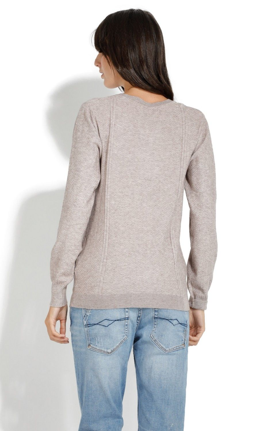 William De Faye Round Neck Long Sleeve Sweater in Beige
