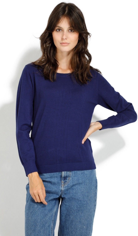 William De Faye Round Neck Long Sleeve Open Stitch Work Sweater in Navy