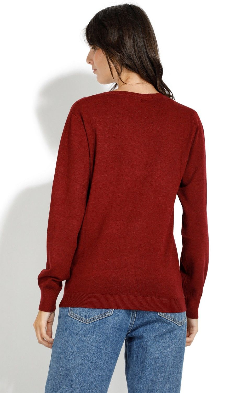 William De Faye Round Neck Long Sleeve Open Stitch Work Sweater in Maroon