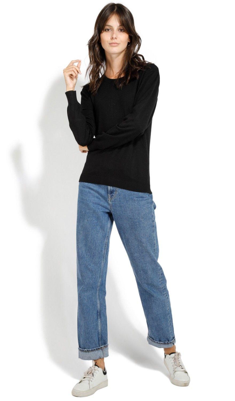 William De Faye Round Neck Long Sleeve Open Stitch Work Sweater in Black