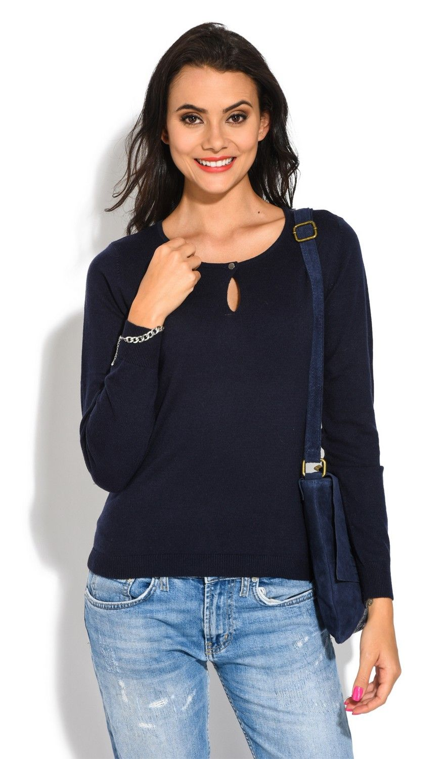 William De Faye Round Neck Keyhole with Button Sweater in Navy