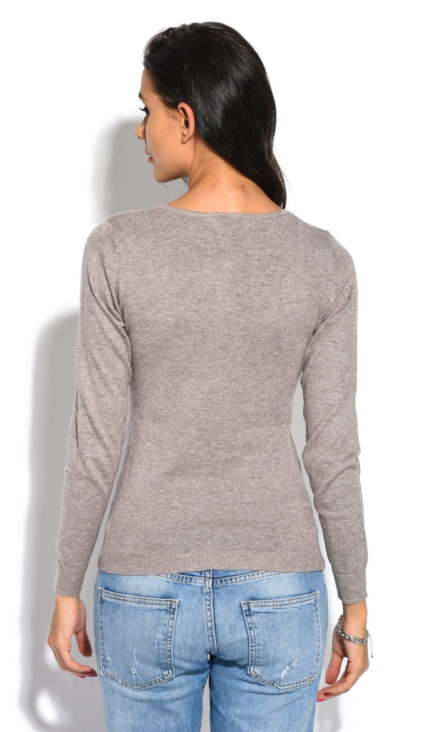 William De Faye Round Neck Keyhole with Button Sweater in Beige