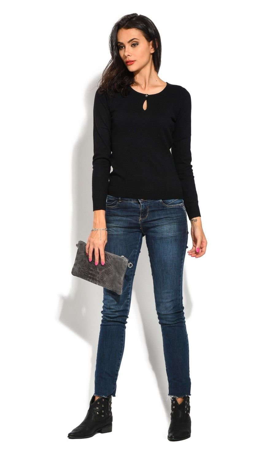William De Faye Round Neck Keyhole with Button Sweater in Black