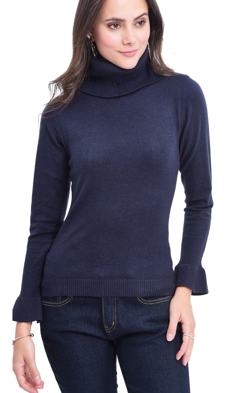 William De Faye Roll Neck Ruffle Sleeve Sweater in Navy