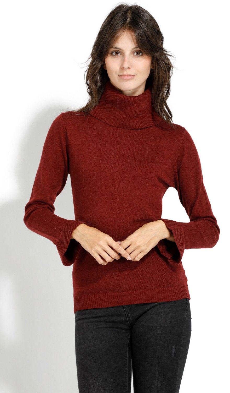 William De Faye Roll Neck Ruffle Sleeve Sweater in Maroon