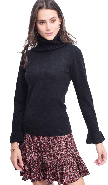 William De Faye Roll Neck Ruffle Sleeve Sweater in Black