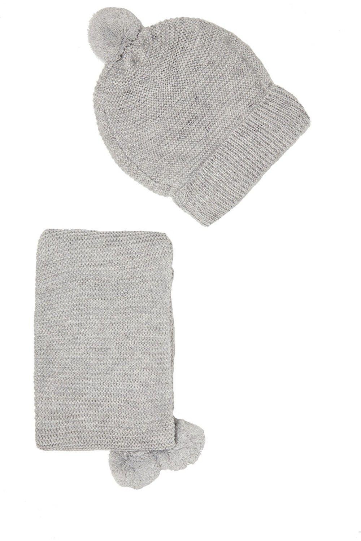 William De Faye 4 Yarn 155x16cm Scarf & Beanie in Grey