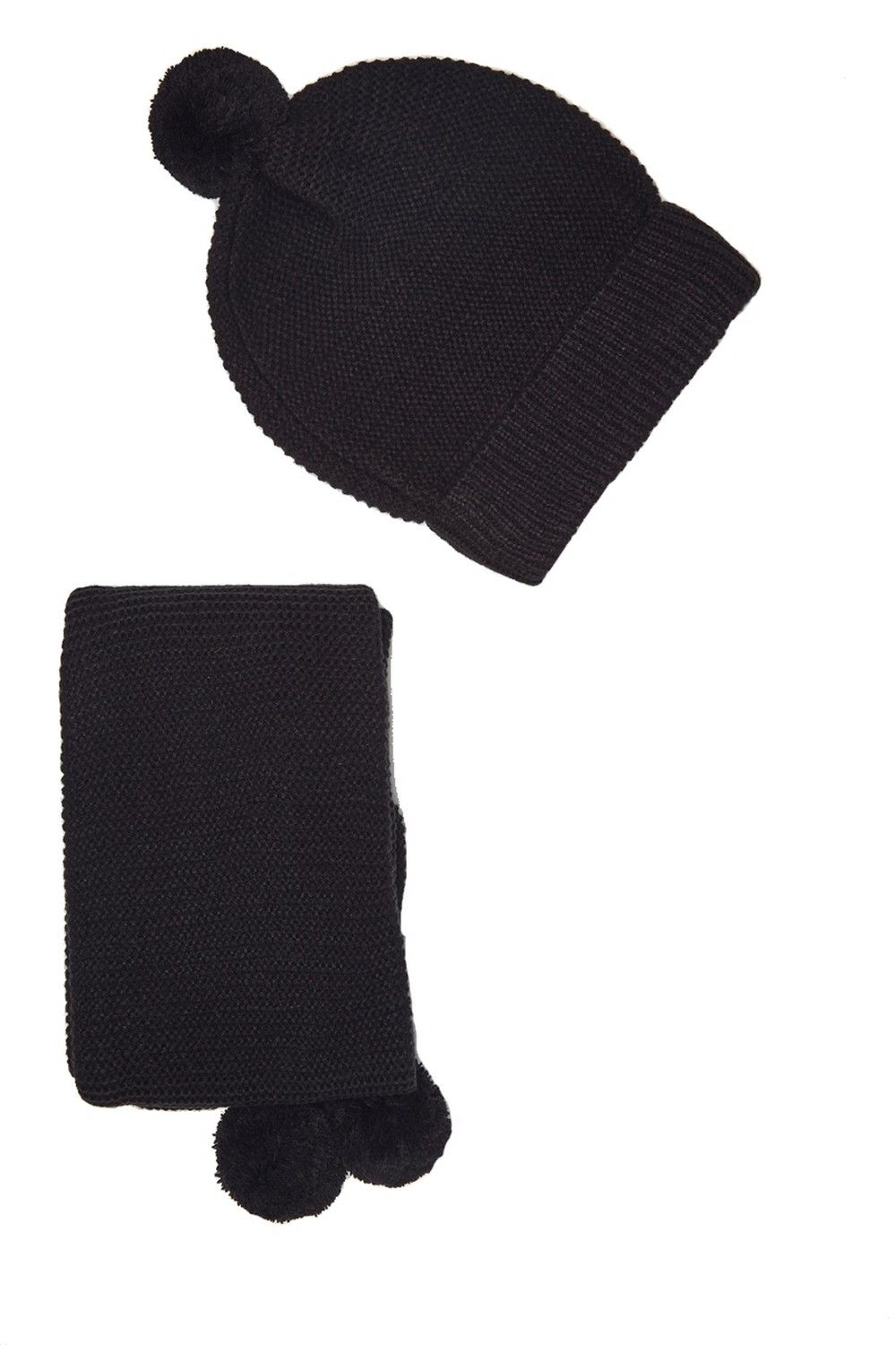 William De Faye 4 Yarn 155x16cm Scarf & Beanie in Black