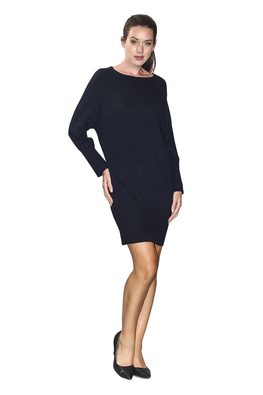 William De Faye Boat Neck Open Stitch Work Shoulder Dress in Black