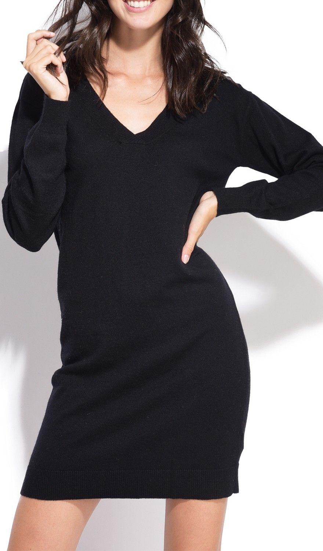 William De Faye V-neck Crossover Dress in Black