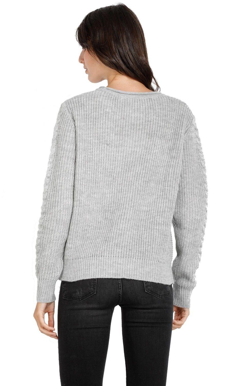 William De Faye Round Neck Twisted Yarn Sweater in Grey