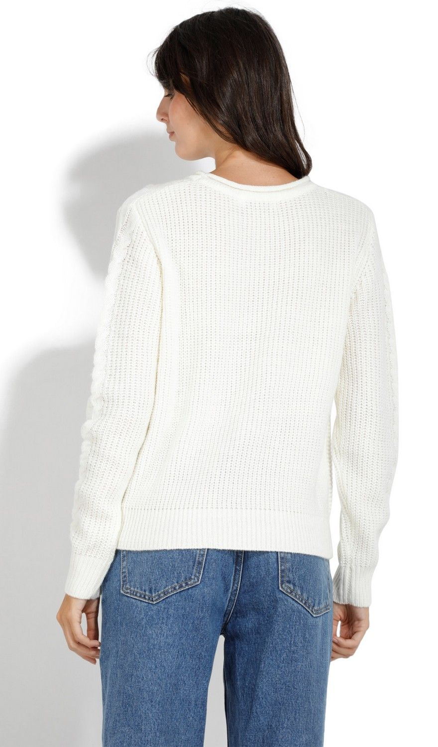 William De Faye Round Neck Twisted Yarn Sweater in Natural