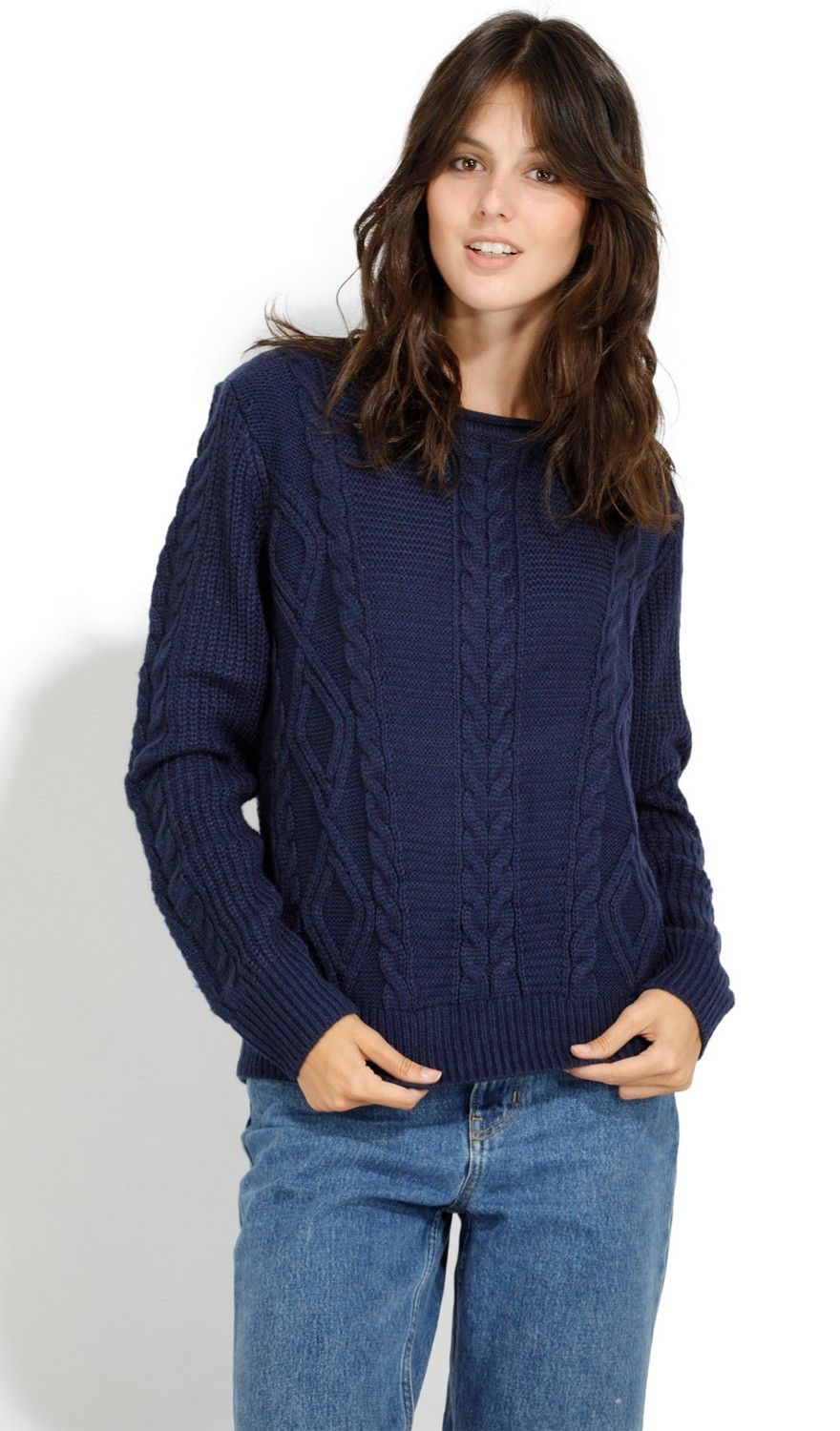 William De Faye Round Neck Twisted Yarn Sweater in Navy