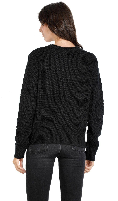 William De Faye Round Neck Twisted Yarn Sweater in Black