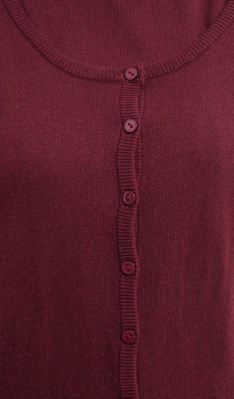 William De Faye Round Neck Long Sleeve Cardigan in Maroon