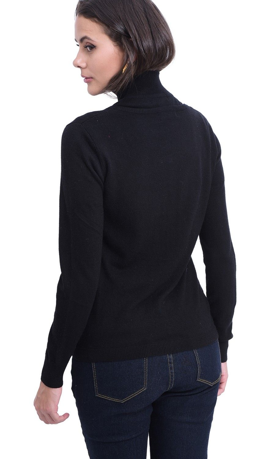 William De Faye Round Neck Long Sleeve Cardigan in Black