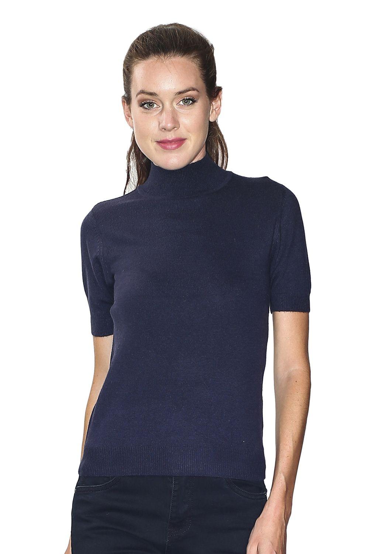 William De Faye Funnel Neck Short Sleeve Sweater in Navy