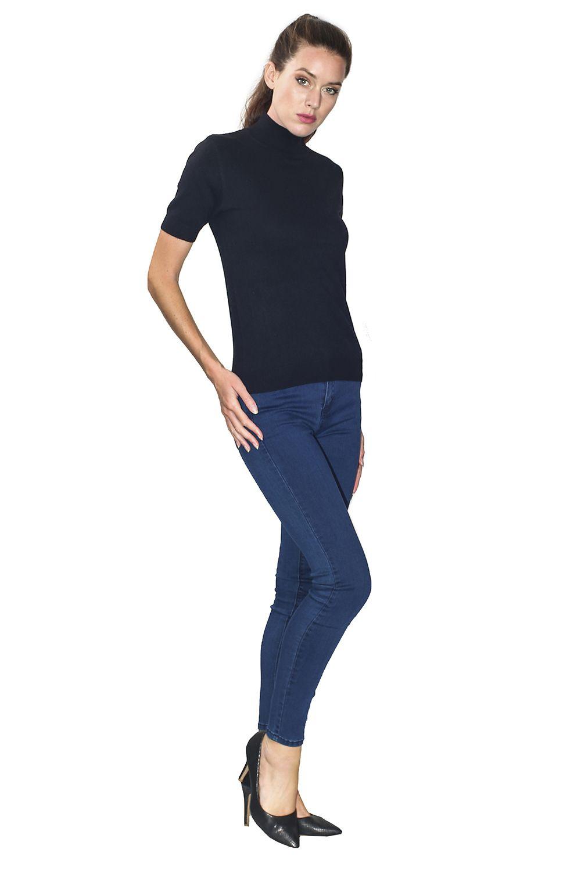 William De Faye Funnel Neck Short Sleeve Sweater in Black