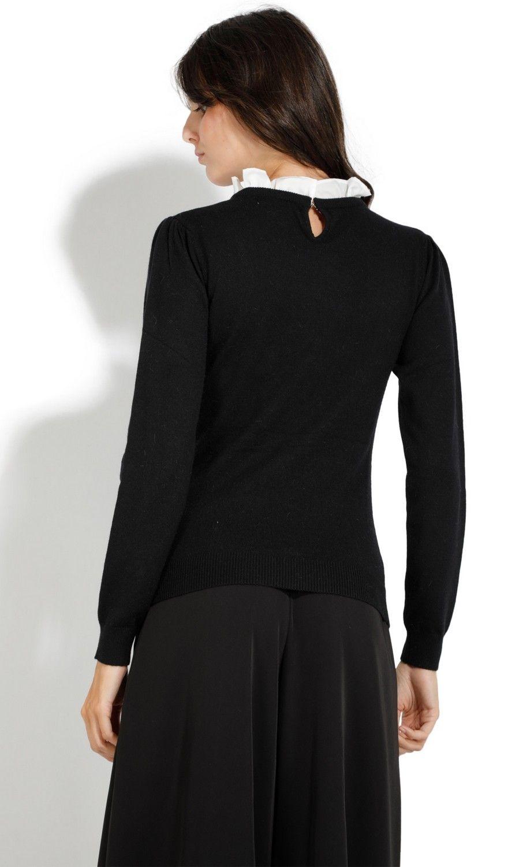 William De Faye Ruffled Cotton Collar Sweater in Black