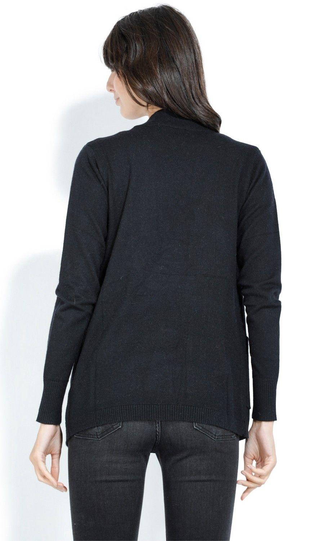 William De Faye Shawl Neck Cardigan with Pockets in Black