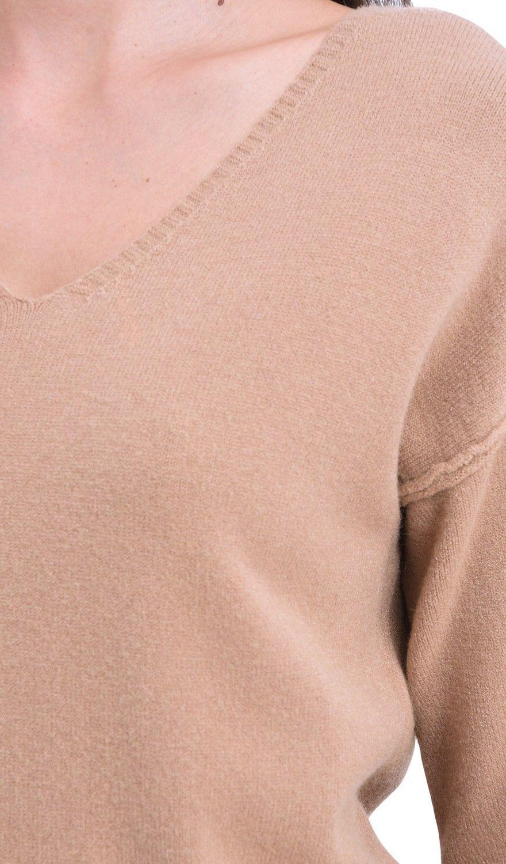 William De Faye V-Neck Drop Shoulder Tunic in Beige