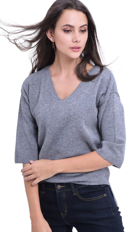 William De Faye V-Neck Drop Shoulder Tunic in Grey