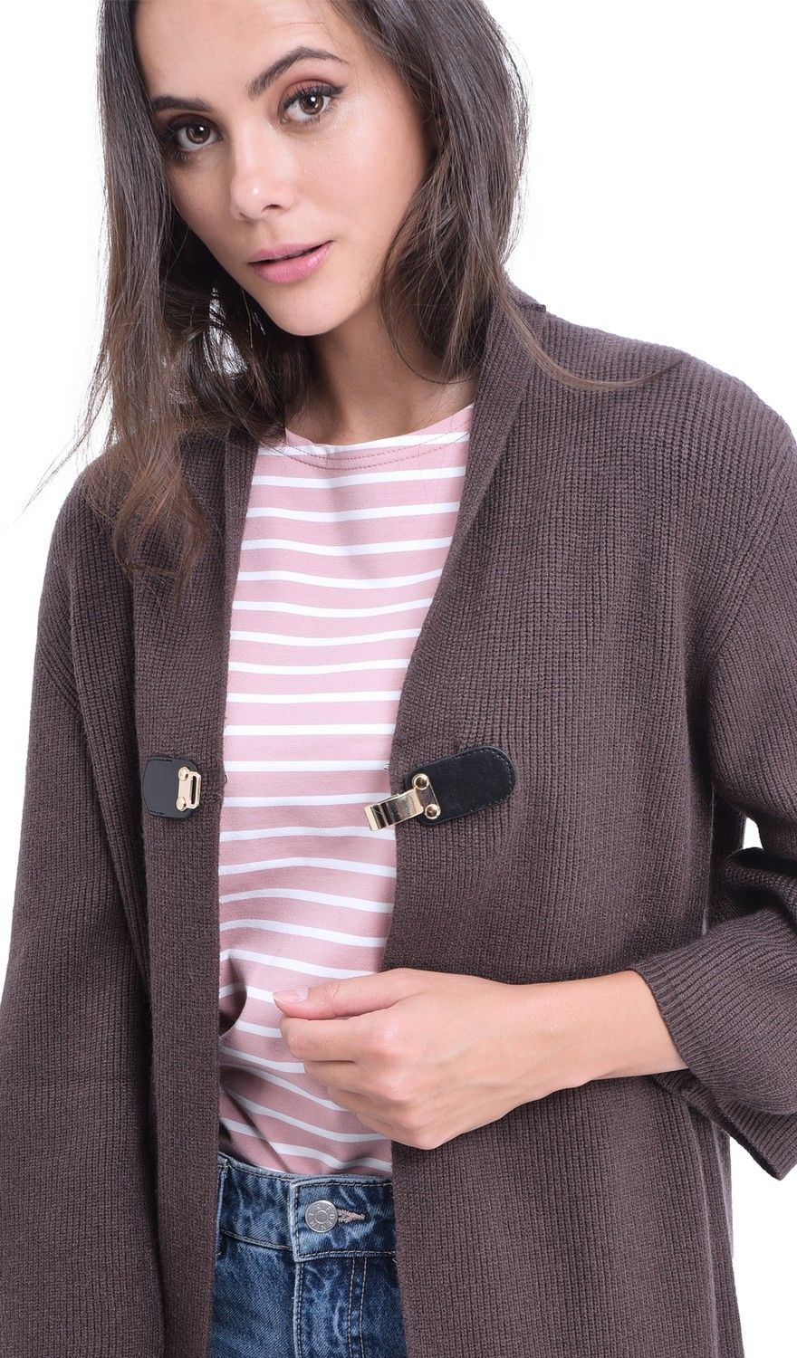 William De Faye Longline Cardigan with Leather Button in Brown