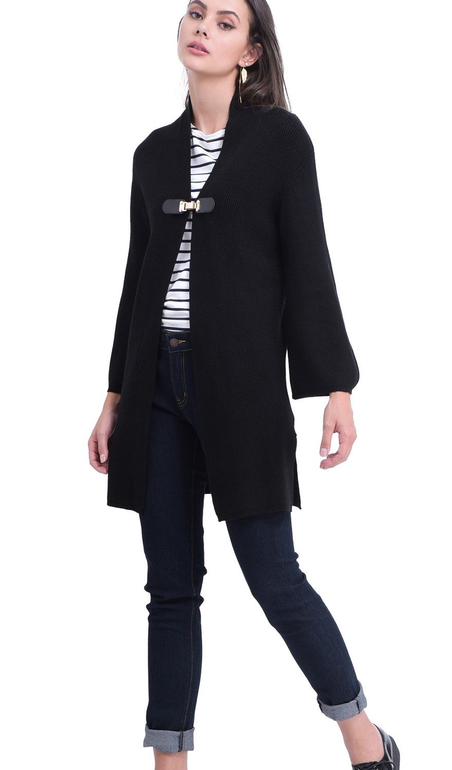 William De Faye Longline Cardigan with Leather Button in Black