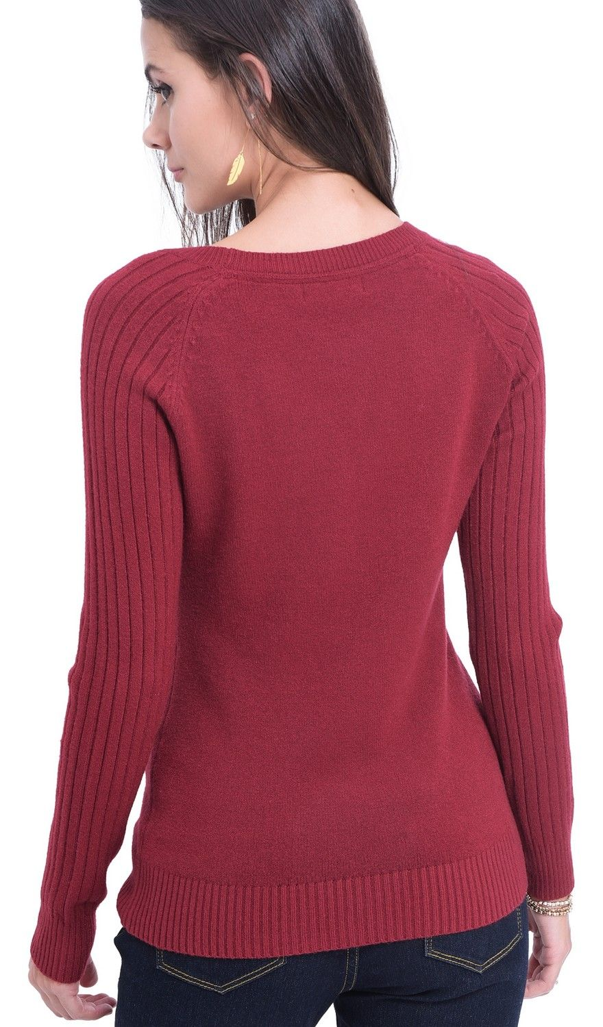 William De Faye Round Neck Sweater with Ribbed Sleeves in Maroon