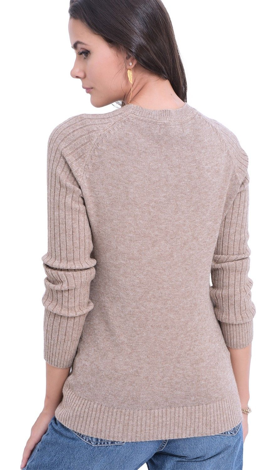 William De Faye Round Neck Sweater with Ribbed Sleeves in Beige