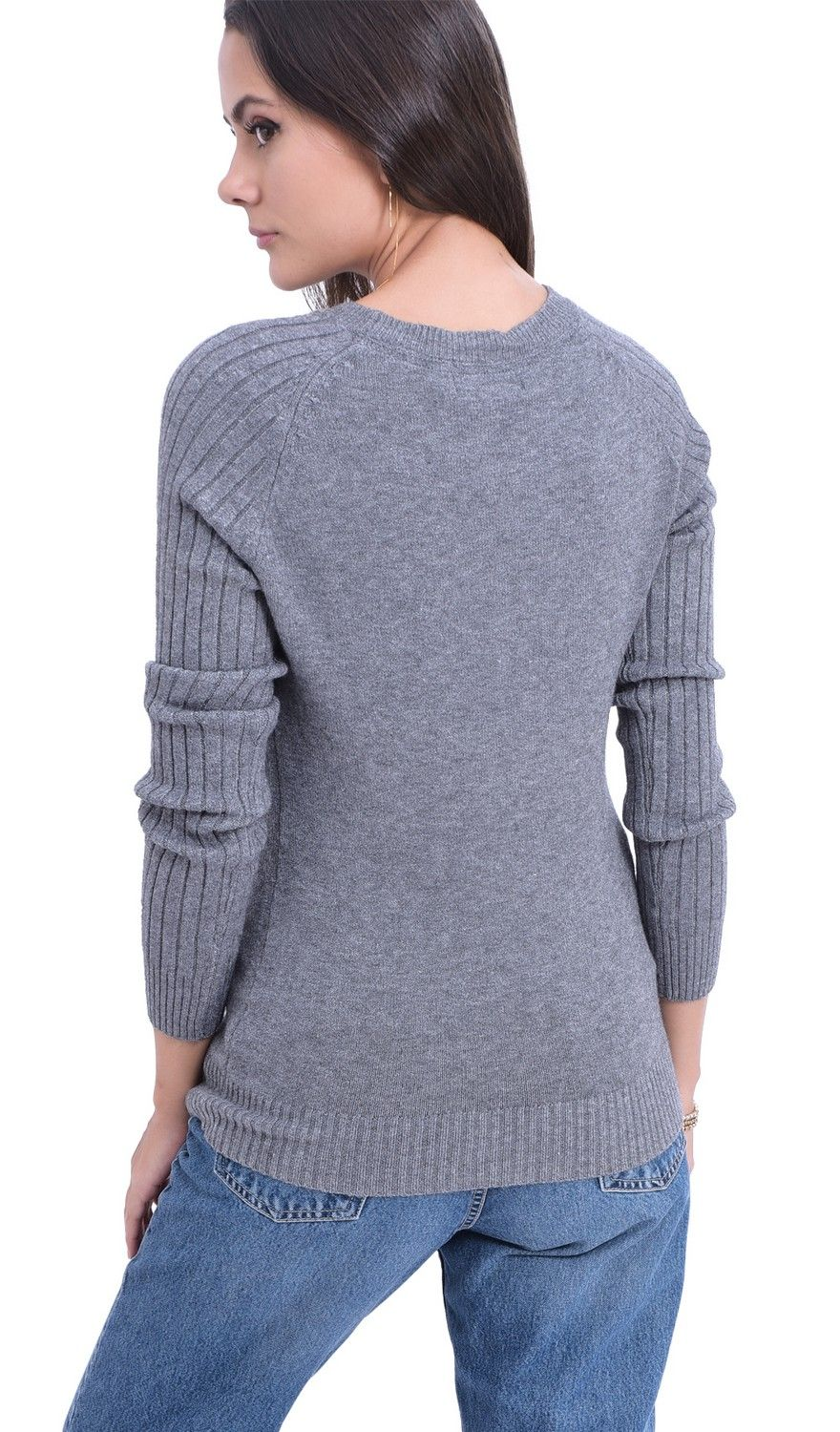William De Faye Round Neck Sweater with Ribbed Sleeves in Grey