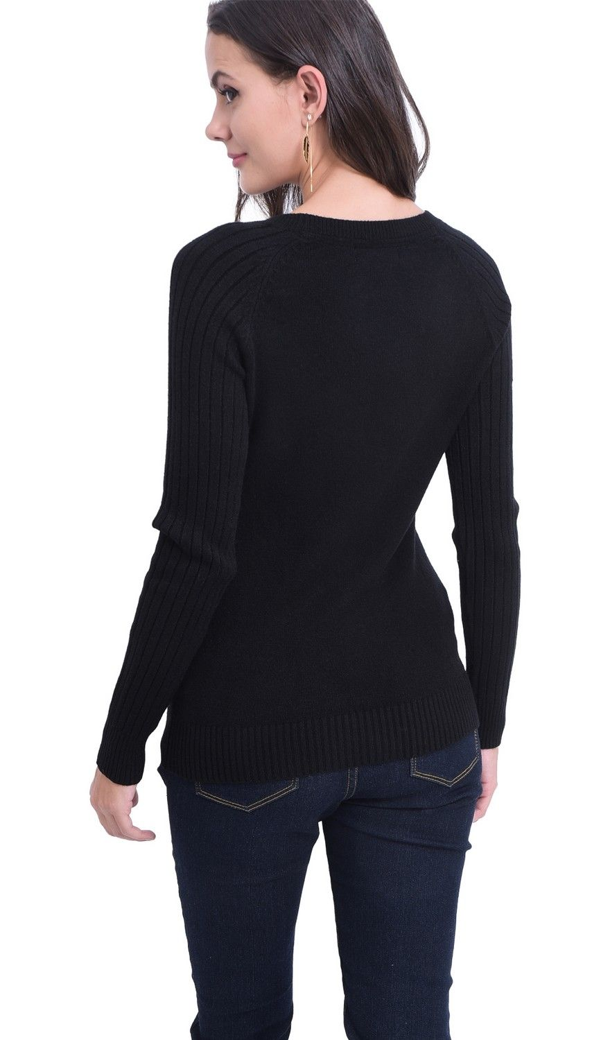 William De Faye Round Neck Sweater with Ribbed Sleeves in Black
