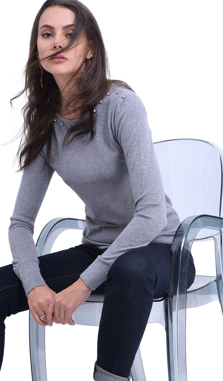 William De Faye Diamond Round Neck Sweater in Grey