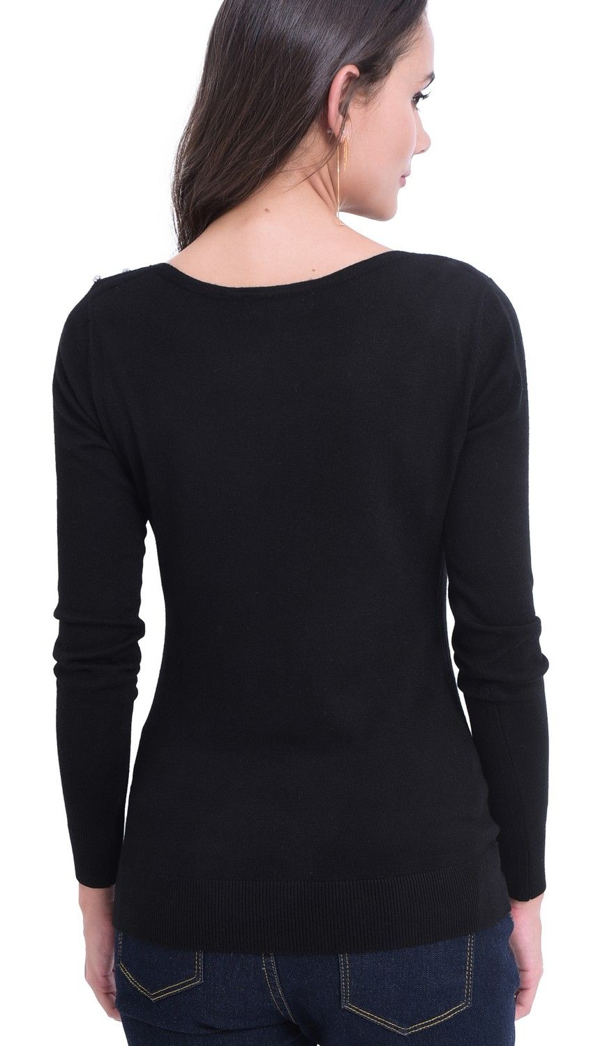William De Faye Diamond Round Neck Sweater in Black