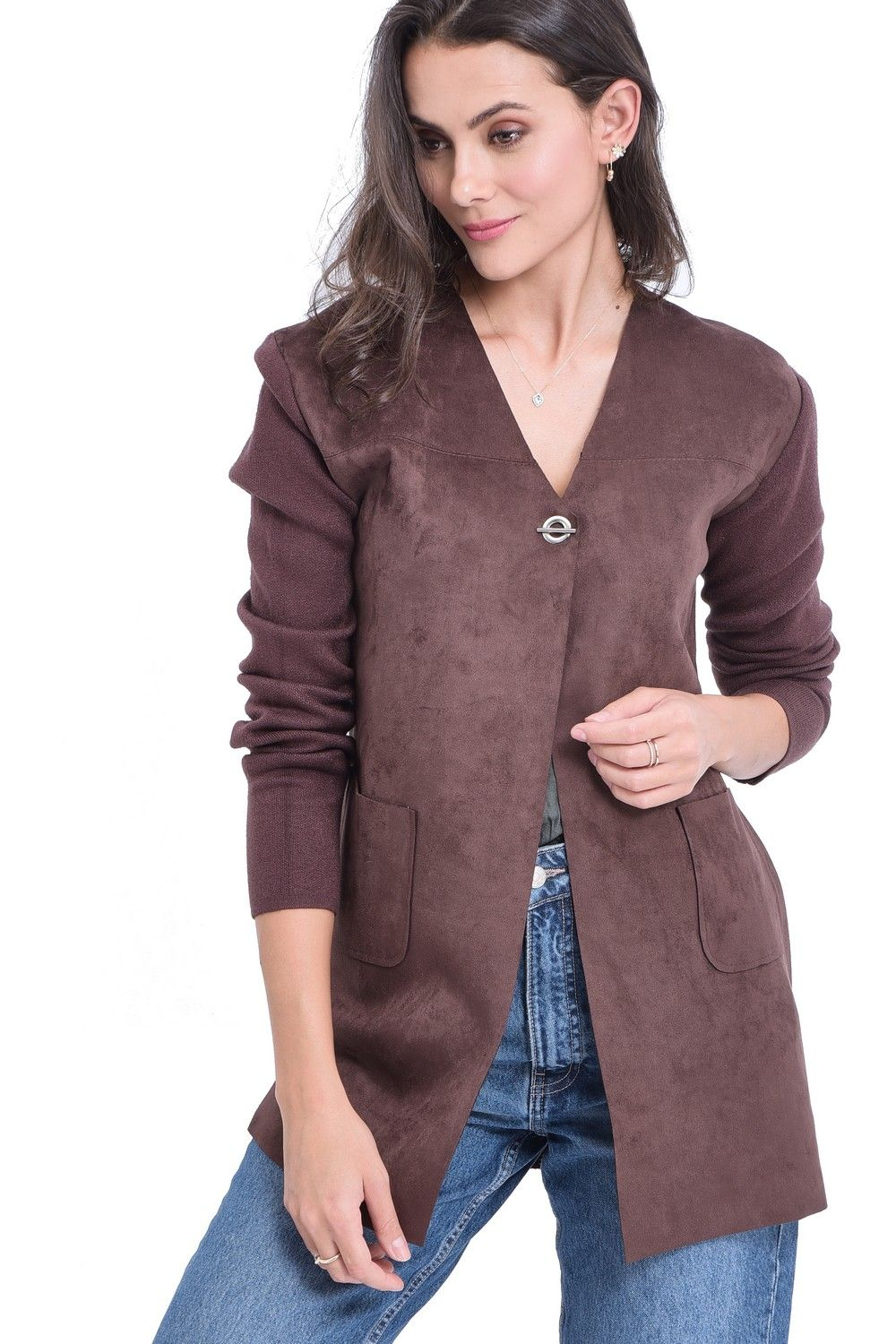 William De Faye Longline Cardigan with Suede Pockets in Brown