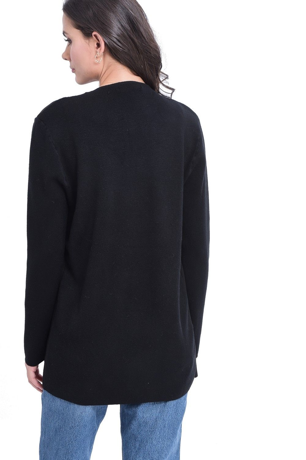 William De Faye Longline Cardigan with Suede Pockets in Black