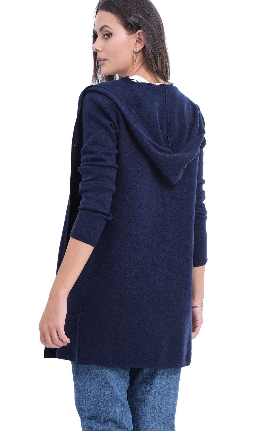 William De Faye Longline Hooded Cardigan with Suede Pockets in Navy