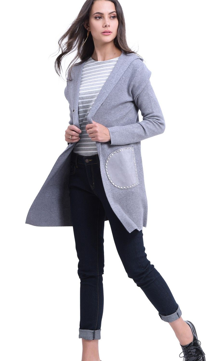 William De Faye Longline Hooded Cardigan with Suede Pockets in Grey