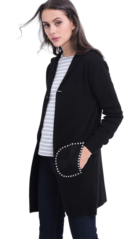 William De Faye Longline Hooded Cardigan with Suede Pockets in Black