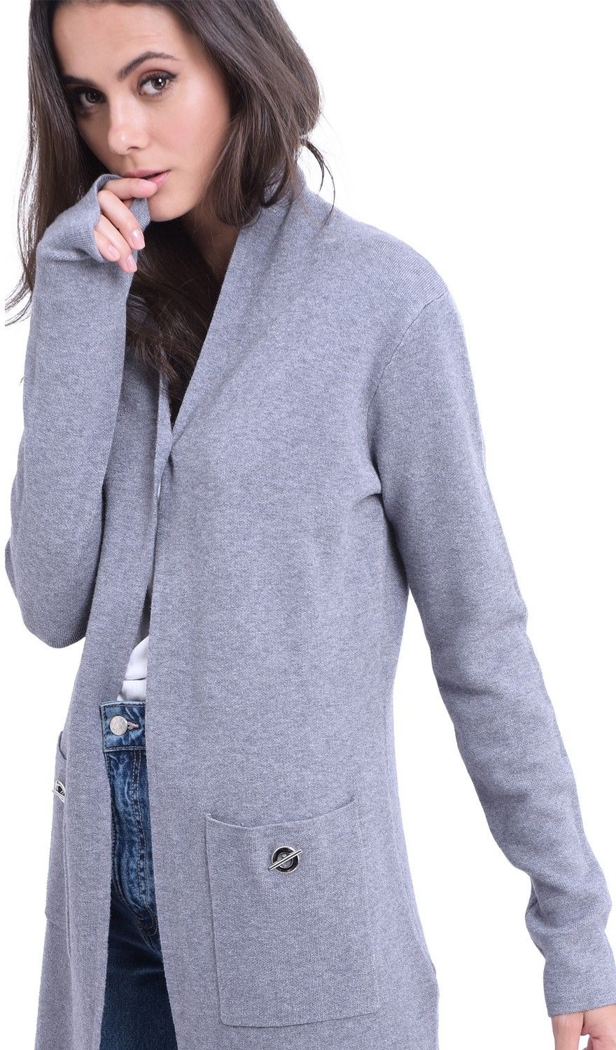 William De Faye Longline Shawl Collar Cardigan with Pockets in Grey