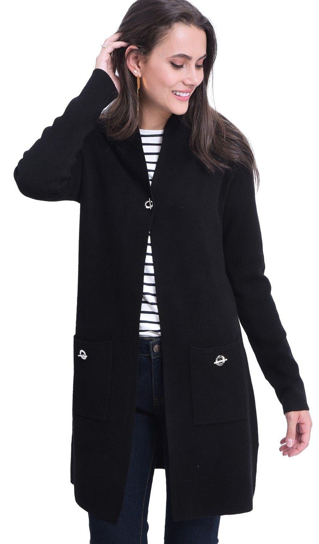 William De Faye Longline Shawl Collar Cardigan with Pockets in Black