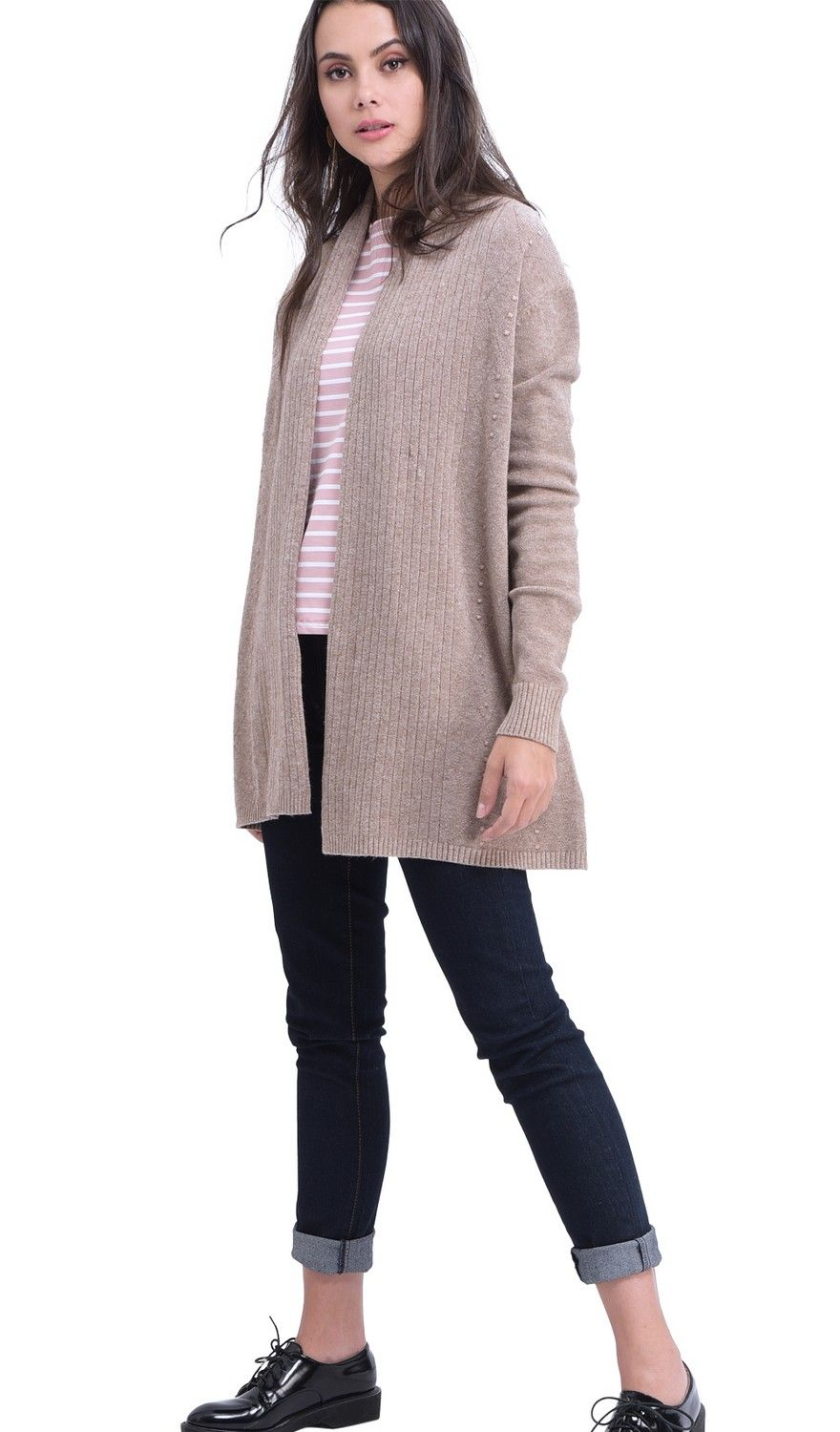 William De Faye Longline Shawl Collar Ribbed Cardigan in Beige