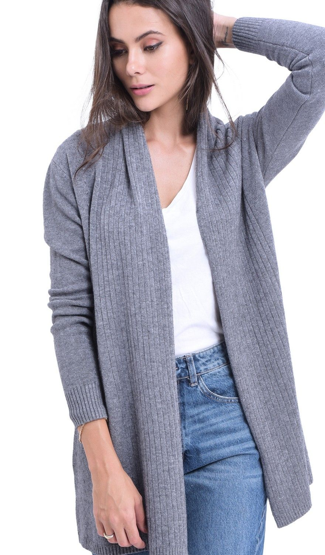 William De Faye Longline Shawl Collar Ribbed Cardigan in Grey