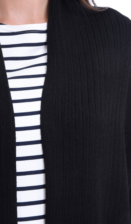 William De Faye Longline Shawl Collar Ribbed Cardigan in Black