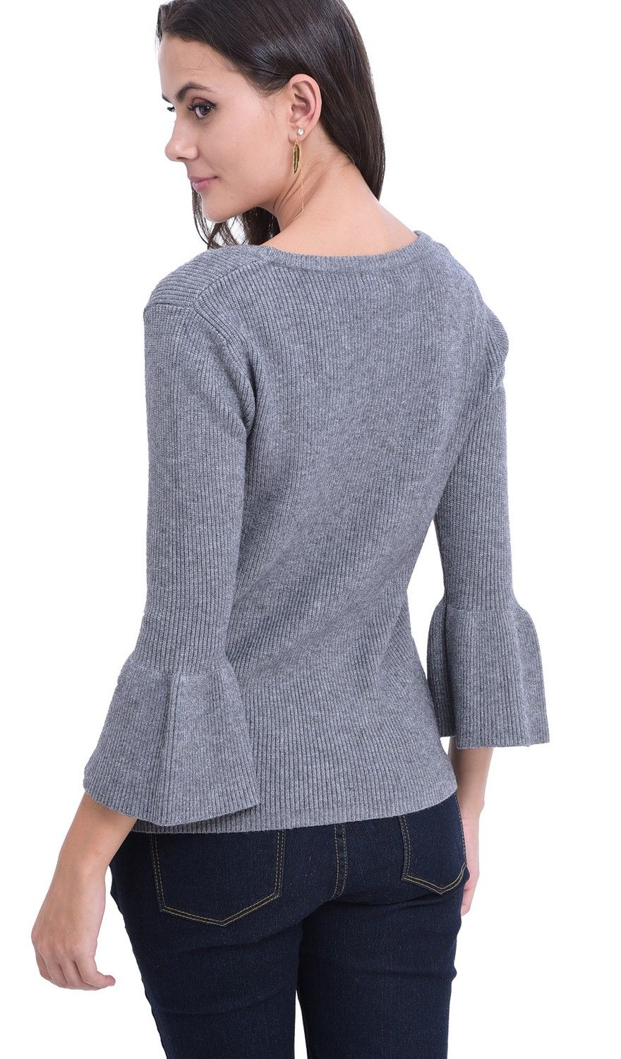 William De Faye Round Neck Sweater with Babydoll Sleeves in Grey