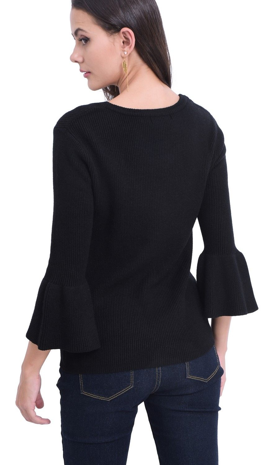 William De Faye Round Neck Sweater with Babydoll Sleeves in Black