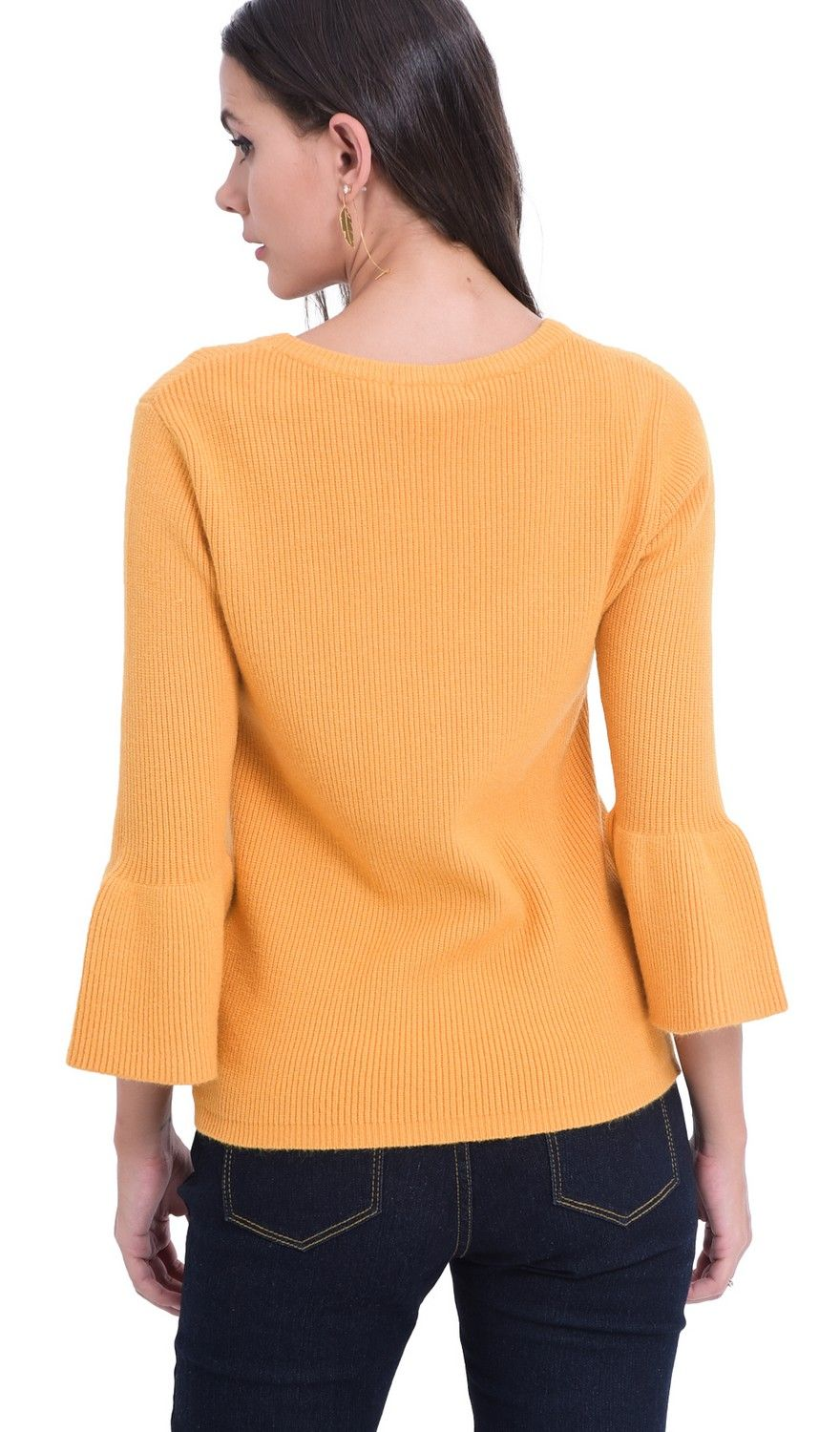 William De Faye Round Neck Sweater with Babydoll Sleeves in Mustard